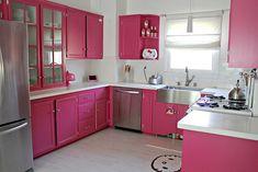 Cozinhas em cor de rosa
