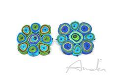Textile brooch, handmade fabric brooch, green blue pin - Fiber jewelry OOAK ready to ship
