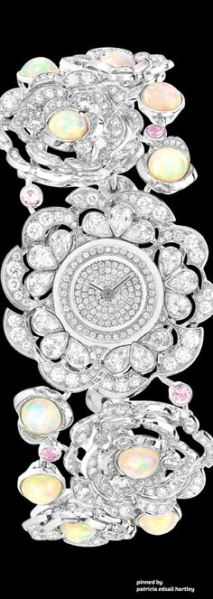 Diamond Watches Ideas : Chanel Watch in white gold, opals, pink sapphires and diamonds - Watches Topia - Watches: Best Lists, Trends & the Latest Styles Coco Chanel, Chanel Jewelry, Jewelery, Chanel Watch, Schmuck Design, High Jewelry, Pink Sapphire, Designer, Bracelet Watch