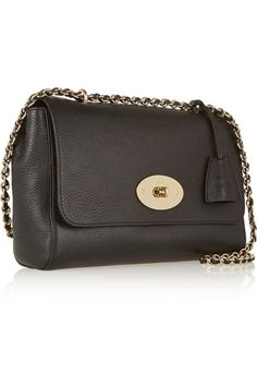 Black textured-leather (Goat) Postman's lock-fastening front flap Comes with dust bag