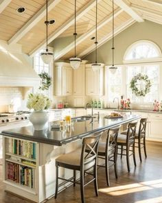-Country-Kitchens-window and island seating
