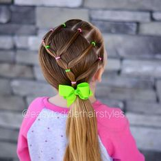 Another cute and fast elastic style, this one takes about 10 mins. Easy Little Girl Hairstyles, Girls Hairdos, Cute Hairstyles For Kids, Cute Girls Hairstyles, Princess Hairstyles, Braided Hairstyles, Children Hairstyles, Easy Toddler Hairstyles, Gymnastics Hair