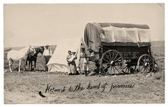 """On the Oregon Trail, heading west to the """"land of promise."""" This photographer is unknown, but it was pioneers like these who, starting in 1841, crossed the Nebraska plains."""
