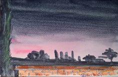 Art card from Tuscany stay. Landscape in sunset 15x10 cm watercolor --- Cartolina d'autore dal soggiorno toscano. I campi al tramonto, 15x10 cm --- #ebay #ebayitalia #tramonto #sunset #campi #nature #night #notte #notturno #art #arte #tuscany #toscana #italy #italia #watercolor #acquerello #yuliakorneva #landscape #paesaggio