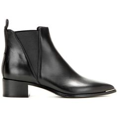 Acne Studios Jensen Leather Ankle Boots (39.200 RUB) ❤ liked on Polyvore featuring shoes, boots, ankle booties, black booties, ankle boots, leather ankle boots, short black boots и black leather bootie