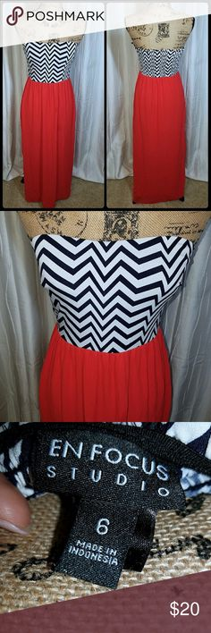 Vibrant Chevron Maxi Dress Maxi dress - Black and white chevron top with vibrant coral/red skirt. Excellent condition. Sz. 6. True to size. Dresses Maxi