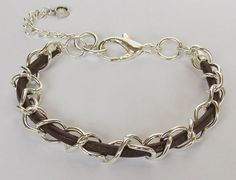 Her Chain and Leather Bracelet Free shipping by kasual2klassy, $18.00