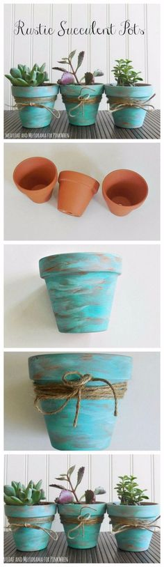 DIY Farmhouse Style Decor Ideas - Rustic Succulent Pots - Rustic Ideas for Furniture, Paint Colors, Farm House Decoration for Living Room, Kitchen and Bedroom http://diyjoy.com/diy-farmhouse-decor-ideas