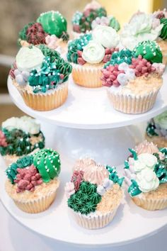 Don't miss this wonderful cactus-themed birthday party! The cupcakes are awesome! See more party ideas and share yours at CatchMyParty.com #catchmyparty #partyideas #cactusparty #cactus #girlbirthdayparty #cactuscupcakes