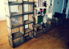 milk crate bookshelves Milk Crate Shelves, Wooden Crate Shelves, Crate Bookshelf, Milk Crates, Crate Storage, Bookshelves, Wooden Crates Christmas, Plastic Dog Crates, Coffee Table With Wheels