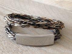 Super gave wikkelarmband met paardenhaar 16 strengen gevlochten armband, inclusief schuifelement waar de naam op gegraveerd wordt.