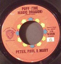 Puff the Magic Dragon- Peter, Paul and Mary.  My brother had a copy and I remember, as a very young child, accidentally sitting on it and breaking it.