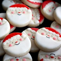I actually thought these were dipped and decorated oreos! Guess what I'm doing instead of sugar cookies!  Santa Sugar Cookies