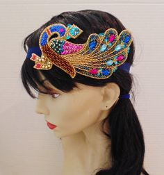 Art Deco Headband Flapper Peacock Headpiece by BellaCescaBoutique