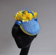 Dutch design aqua and yellow sinamay hat with ton sur ton