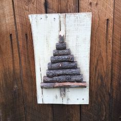 Rustic Wood Christmas Tree Branch Sign by KFarmsWoodworking