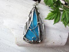 Stained Glass Pendant Statement Necklace Boho by MaryBulanova