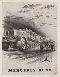 """Mercedes - Benz advertising/propaganda from magazine """"Böhmen und Mähren"""", 1942"""