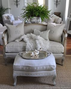 French Country Living Room ~ #frenchcountry | Home! From Cozy Cottage to Grand Chateau!  | Settees, French Country and Ferns