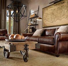 Restoration Hardware world traveler living room