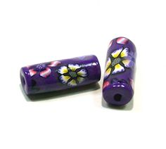 Handmade Flower Polymer Clay Tube Beads Main Color Purple by BarbiesBest on Etsy