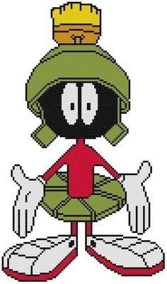 Cross Stitch Knit Crochet Plastic Canvas Waste Canvas Rug Hooking  Perler Bead Work Pattern  This is Marvin Martian from the Looney Tunes!  https://www.pinterest.com/resparkled/