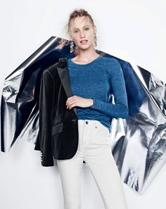 J.Crew women's Campbell blazer in velvet with peak lapel, indigo vintage cotton long-sleeve T-shirt, lookout high-rise Cone Denim® jean in white and cascading glass earrings.