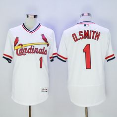 Men's St. Louis Cardinals #1 Ozzie Smith Retired White 2016 Flexbase Majestic Baseball Jersey