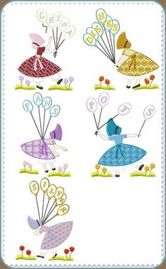 Machine Embroidery Designs :: Affordable :: Great Quality :: Sunbonnets for Kitchen Towels