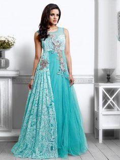 Light Blue Net Wedding Gown With Santone Inner (Free Size)