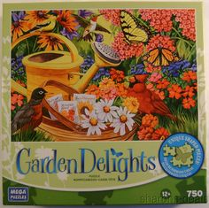 Garden Friends Delight 750 Pc Jigsaw Puzzle 19x27 Flowers Butterfly Birds Sealed #MegaPuzzles