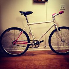 """dry run of Park Pre MTB Single Speed build. almost there sans brake cables. 26"""" Mavic rims, White Industry front hub + Deore rear cassette hub w single speed cog modification using some spacers. black Brooks B17 will be on hand-polished Strong 26.4 seatpost."""