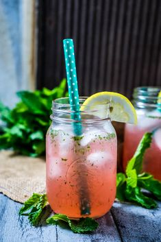 Raspberries, lemon, honey, and mint are blended together to create this delightful drink.