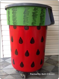 Painted Watermellon Trash Can - Red and Greens are paint and black seeds made with a hand cut stencil and a Black Sharpie.