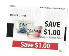 VOSKOS Poducts ~ $1.00 on FOUR (4) ~ 07/31/2014