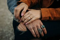Eclectic rings from this 70s inspired annversary photoshoot | Image by  Jonathan Yacoub Photography