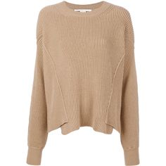 Stella McCartney ribbed jumper (2,745 PEN) ❤ liked on Polyvore featuring tops, sweaters, brown, long sleeve jumper, drop shoulder sweater, beige top, ribbed sweater and loose tops