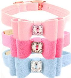 Designer Dog Collar Designer Ultrasuede Puppy Pink Big Bow (Colors: Puppy Pink, Perfect Pink, Puppy Blue)