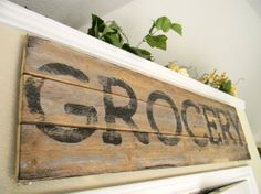 Kitchen grocery sign by linenandlaceshop on Etsy, $40.00