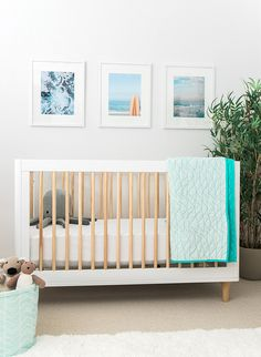 Inspired By This My Boy's Surf's Up Themed Nursery - Kids - My Boy's Surf's Up Themed Nursery – Inspired By This Best Picture For gender neutral nursery - Beach Theme Nursery, Surf Nursery, Coastal Nursery, Surf Room, Nursery Neutral, Nursery Themes, Nursery Room, Nursery Decor, Nursery Ideas