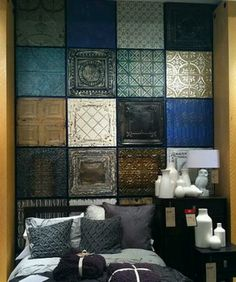 Oh I love these!! Spay paint tin tiles - would make a great faux headboard, maybe half the wall, use painters tape to attach