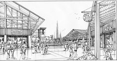 Open Air Mall Plaza Sketch