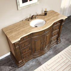Amazon.com: Silkroad Exclusive Travertine Top Single Sink Bathroom Vanity with Furniture Cabinet, 60-Inch: Home & Kitchen