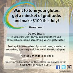 Want to earn $100, get sexy sleek legs, and reset your mindset? Try this Moticise Challenge! #squat #Moticisesquat #gratitude