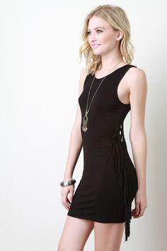 Side Fringe Bodycon Dress