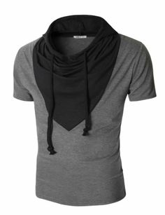 Doublju Mens Short Sleeve T-shirt with Unique Colorblocked Hood CHARCOAL (US-S) Doublju,http://www.amazon.com/dp/B00EU57Y28/ref=cm_sw_r_pi_dp_LG88sb1SC3T0FAFV