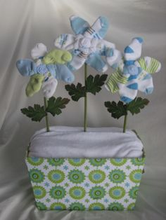 diaper cake with sock flowers