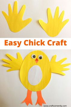 Learn how to make a cute chick from construction paper and your child's handprint. This farm animal kids craft is easy to make. Farm Animal Crafts, Animal Crafts For Kids, Paper Crafts For Kids, Easy Crafts For Kids, Paper Animal Crafts, Craft Work For Kids, Paper Animals, Farm Animals, Craft Activities For Toddlers