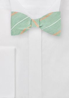 Menswear Bow Tie in Muted Greens and Oranges