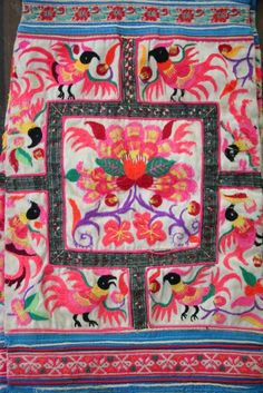 Textile - A pair of Hmong / Miao fabric / Hmong embroidery panels / Hmong costume ( code 580 ). 40,00, via Etsy.